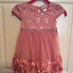 Little Lass rose trimmed girls dress